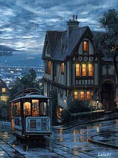 tranvía en la lluvia