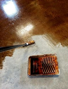 Staining and Finishing Concrete Floors   Ana White #BasementSubfloor