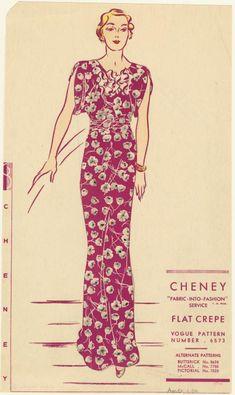 Vintage Vogue Sewing Pattern Evening Dress With Train for sale online Vintage Patterns, Motif Vintage, Vintage Outfits, Vintage Dresses, 1930s Fashion, Vintage Fashion, Fashion Sewing, 1930s Dress, Vogue Sewing Patterns