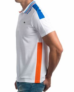 · Polos Lacoste línea Sport · Polos Lacoste 100% algodón · Polos Lacoste tricolor: blanco, azul royal y ... Mens Polo T Shirts, Polo Tees, Mens Tees, Polos Lacoste, Lacoste Sport, Camisa Polo, Polo Shirt Design, Polo Shirt Style, Gym Tops