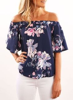 BONJEAN Summer Femininas Blusas Fashion Women Off Shoulder Floral Printed Blouse Casual Tops Shirt Amazing 2017 Off Shoulder Bluse, Off Shoulder Shirt, Off Shoulder Top Outfit, Off Shoulder Floral Top, Off Shoulder Tops, Shoulder Sleeve, Cold Shoulder, Floral Blouse, Printed Blouse