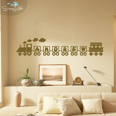 Hop on the Name Train! This adorable monogram is perfect for any train enthusiast or child. Enjoy this decal in any bedroom, nursery, or playroom.