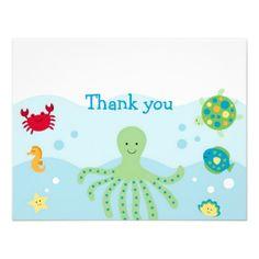 Calypso Sea Creature Ocean Thank You Note Cards Custom Invite