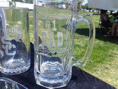 Personalized Beer Stein, Father's Day Etched Glasses, beer mugs, Monogrammed beer mugs by milestoneartworks. Explore more products on http://milestoneartworks.etsy.com