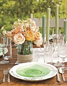 The pastels look great and add a soft, romantic feel to the table setting. I love the mason jar, come, flower vase.