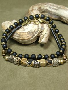 Mens Bracelet  Beaded Bracelet  Stretch by StoneWearDesigns
