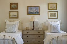 twin beds, sailboats, striped pillows  by Phoebe Howard