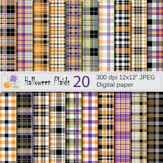 Halloween Plaids Digital Paper Set, Halloween Plaid Digital Papers, Black Orange…