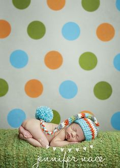 Elf Hat in Aqua Orange Cream Grey and Sweet Pea by craftnikki, $30.00