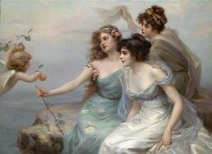 Edouard Bisson - The Three Graces, oil on canvas, 1899 - Pictify - your social art network Victorian Paintings, Classic Paintings, Classical Art, Renaissance Art, Thalia, Aesthetic Art, Belle Photo, Female Art, Vintage Art