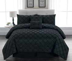 6 Piece Queen Melia Black Comforter Set