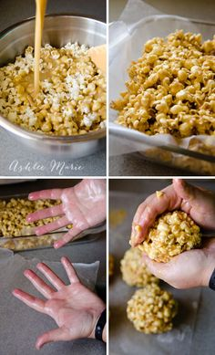 making soft gooey caramel popcorn balls are easy and a delicious treat and gift during the holidays (Carmel Party Mix) Köstliche Desserts, Delicious Desserts, Dessert Recipes, Yummy Food, Candy Recipes, Real Food Recipes, Holiday Recipes, Pop Corn, Favorite Recipes