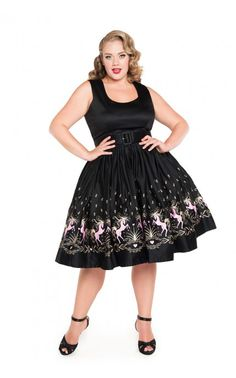 Pinup Couture- Aurora Dress in Dancing Horses Print - Plus Size   Pinup Girl Clothing