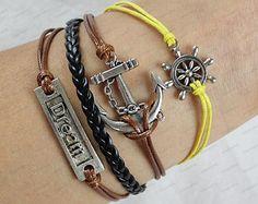 Dream Anchor BraceletSilver Wax Cords Leather Braid by edwinating, $6.99