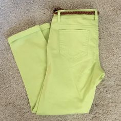 skinny ankle pants  Great color for spring. Includes matching belt. Only worn once. No stains or rips. Making room in my closets. Smoke and pet free home. Mossimo Supply Co Pants Ankle & Cropped