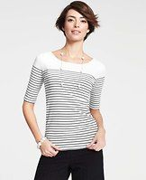 Ocean Stripe Top - Make waves in this sleek cotton style, flaunting fine lines and a fabulous front and back scooped neck. Short sleeves.