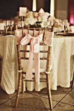 Pink Bow with Gold Chiavari Chair #allthatglitters