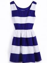 Blue And White Striped Puff Dress