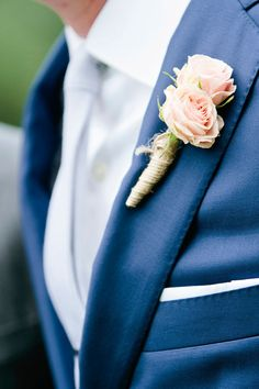 """Wedding Theme: """"Timeless Romance with Modern Vintage Details""""- Green Gables Wedding Estate-Navy Blue- Groom Suit- boutonniere- FLY Boutonnieres, Rose Boutonniere, Floral Wedding, Wedding Colors, Wedding Bouquets, Wedding Flowers, Wedding Centerpieces, Wedding Decorations, Groom And Groomsmen"""