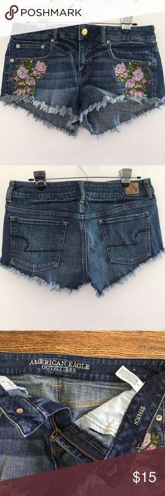 AMERICAN EAGLE CUTOFF SHORTS!!! Size 8, Floral Stitching, Stretch, Cutoff Shorts American Eagle Outfitters Shorts