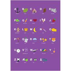 Alfabet med illustrationer plakat fra Ditte Tved A3