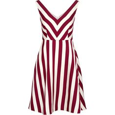 Red Valentino - Striped V-neck Mini Dress ($650) ❤ liked on Polyvore featuring dresses, fit and flare dress, white dress, sleeveless dress, v neck dress and white mini dress