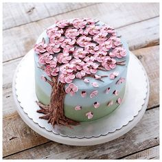 Today's cake decorating inspiration! How beautiful is this buttercream flower cake by Beautiful Birthday Cakes, Beautiful Cakes, Amazing Cakes, Beautiful Desserts, Cake Cookies, Cupcake Cakes, Mousse Au Chocolat Torte, Cherry Blossom Cake, Cherry Blossoms