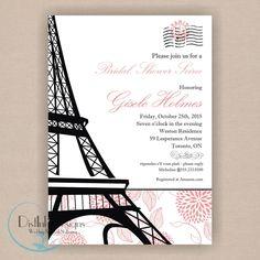 Paris Bridal Shower Invitation - Printable 5x7,  Eiffel Tower , CUSTOMIZE THE COLORS