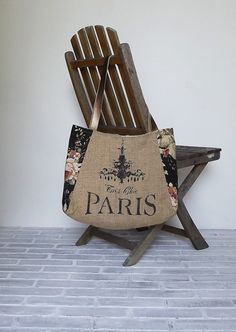 GENEVIEVE handpainted BURLAP TOTE  burlap and by Eurocentrics, $59.00