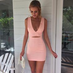 2015 verão mulheres vestido rosa vestido de noite sexy recorte sem mangas fino vestido bodycon V profundo noite clube vestido