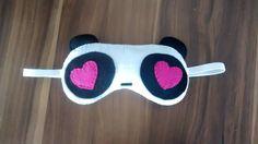 Máscara para dormir panda feita em feltro. <br>Toda feita a mão