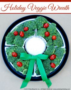 Simple veggie tray for holiday get-togethers. Via Party Bluprints