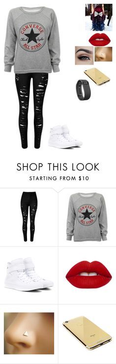 """Love Converse"" by gymnastics7 ❤ liked on Polyvore featuring Converse, Lime Crime, Goldgenie, Fitbit, women's clothing, women, female, woman, misses and juniors"