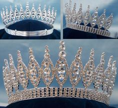 Queen of The Seven Seas RHINESTONE BEAUTY PAGEANT CROWN TIARA 3.5 IN TALL