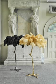 It's beautiful but Do they have to kill the ostrich? :_( The Ostrich Feather Lamp Ochre – A Modern Grand Tour Decor, Hollywood Regency Decor, Home, Lamp, Floor Lamp, Feather Lamp, Diy Chandelier, Vintage Lamps, Feather Tree