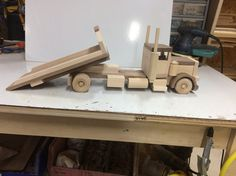 Wooden Toy Trucks, Wooden Car, Large Truck, Small Trucks, Bed With Slide, Long Haul, Truck Bed, Wood Toys, Walnut Wood
