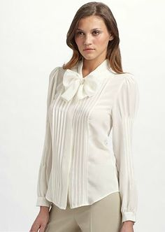 Pleated blouse for women Corporate Women, Corporate Outfits, Corporate Wear, Corporate Style, Corporate Fashion, Office Fashion, 80s Fashion, Business Fashion, Formal Business Attire