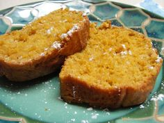 Applesauce Pumpkin Bread--106 calories per slice. I cut the sugar in half and added a banana, even less calories!