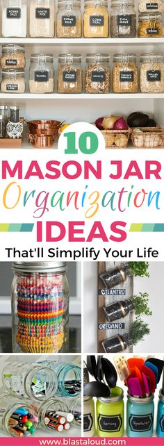 These mason jar organization ideas are super AMAZING! So glad I found these, now I can organize my home with mason jars! Definitely pinning for later! #masonjar#masonjars#organization#masonjarorganization