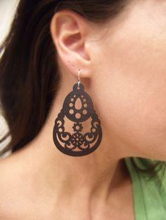 Black Carnival - Intricately Carved/Cut Wood Earrings - Matte Black - Sterling Silver Earwires $16.00