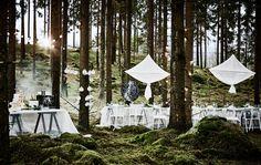 Waldhochzeitstafel mit langem, weißem Tisch, weißen Stühlen, Hängedekorationen und einem Tisch für die Hochzeitstorte