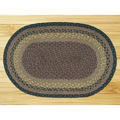 "EarthRugs Braided Brown/Black Area Rug Rug Size: Oval 1'8"" x 4'"