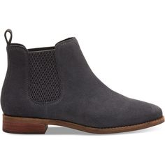 TOMS Forged Iron Grey Suede Women's Ella Booties ($120) ❤ liked on Polyvore featuring shoes, boots, ankle booties, forged iron, grey suede booties, chelsea boots, chelsea bootie, grey boots and suede booties