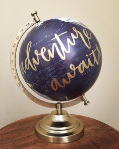 40€ hand painted calligraphy globe // von shopEverthineDesigns auf Etsy