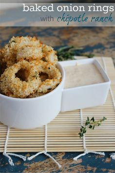 Baked Onion Rings with Chipotle Ranch #fneasy