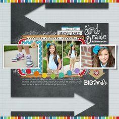 #backtoschool #chalkboard art scrapbook page from Jen at DesignerDigitals.com
