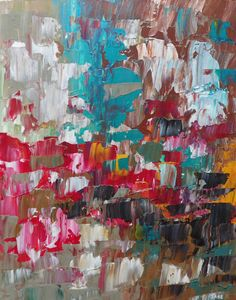 Original abstract palette knife painting 16 x 20 by AngeleSage