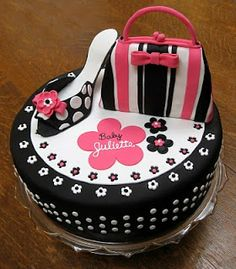 Amazing Cakes By Vanessa!: A Black and Hot Pink Cake for the Baby (with polka dots!)