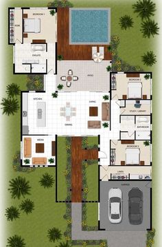 colour floor plan for a building company - Manunda QLD - Dream House Plans, Modern House Plans, House Floor Plans, Small Space Interior Design, Small House Design, Home Building Design, Home Design Plans, Custom Floor Plans, Architectural Floor Plans