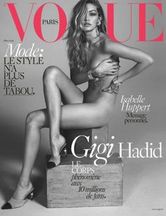 Gigi Hadid wears only jewelry and Chanel heels on the cover of Vogue Paris
